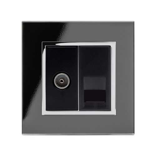 RetroTouch Crystal TV/BT Master Tel Socket Black Glass CT 04073